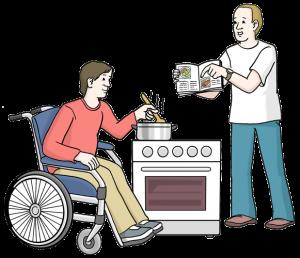 Bild von einem Mann, der einem Rollstuhl-Fahrer beim Kochen hilft