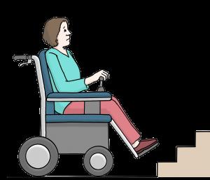 Bild: Rollstuhl-Fahrerin vor einer Treppe