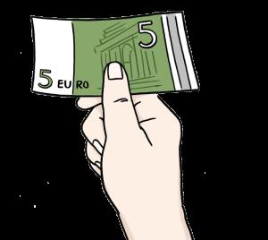 Bild: Hand hält einen Geldschein