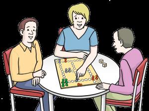 Bild: Gruppe spielt ein Brettspiel