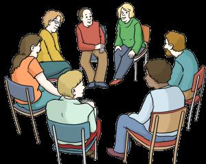 Bild von Menschen, die an einem Gesprächskreis teilnehmen
