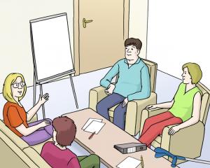 Bild: Eine Gruppe in einem Gespräch