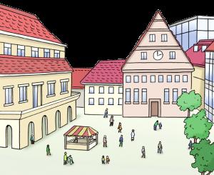 Bild von einem Marktplatz in der Stadt