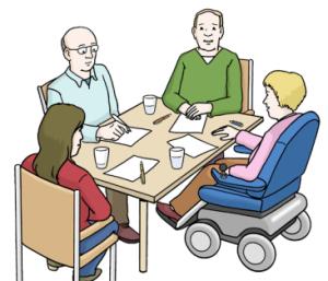 Grafik: Menschen an einem Tisch