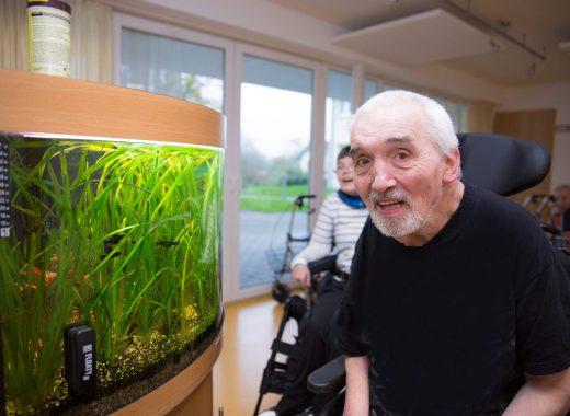 Foto: Personen vor einem Aquarium