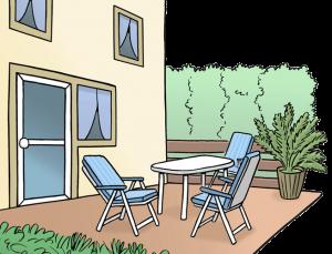 Bild von einer Terrasse