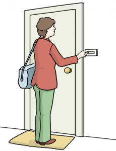 Bild: Eine Frau klingelt an einer Tür